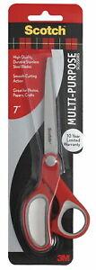 Scotch Multi-Purpose Scissors, 7 Inches, Straight, Red
