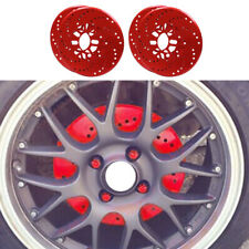 4x Red Car Aluminum Alloy Wheel Brake Disc Cover Decorative Rotor Cross Drilled