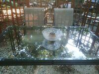 50s SALTERINI Wrought Iron RIBBON Dining Table-Patio/Porch-TEMPESTINI-Eames Era