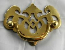 POLISHED SOLID BRASS ORNATE CABINET or DRAWER PULL HANDLE