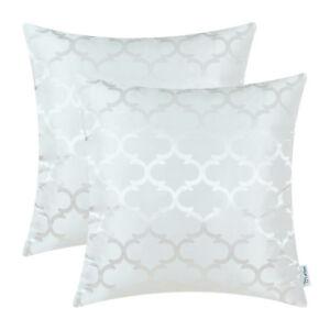 "2Pcs White Cushion Covers Pillows Shells Accent Geometric Home Sofa Decor 18x18"""