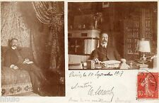 BK167 Carte Photo vintage card RPPC Homme lecture bureau canapé moustache lampe