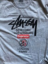 New Rare LTD Edition Stussy X Supreme T Shirt Large 22.5 P2p from New York Shop