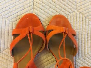 Aquazura Firenze heels Sandals shoes orange ankle lace Italy 37 1/2 suede