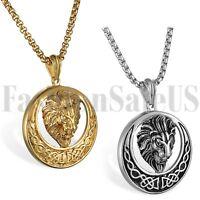 Silver/Gold/Tone Fashion Men's Punk Biker Lion Stainless Steel Pendant Necklace