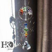 Hanging Crystal Suncatcher Life Tree Stone Beads Prism Pendant Home Window Decor