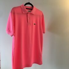 Lacoste Men's Polo Shirt Hot Pink Size 6 Large Regular Fit NEW Free Shipping!