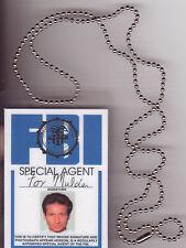 Agent Fox Mulder Xfiles X-Files novelty BADGE ID card Identification Card +chain