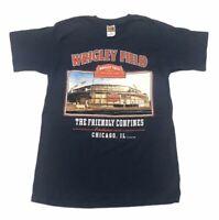 VINTAGE Chicago Cubs Wrigley Field T-Shirt Mens Size Medium M Tee Navy Blue 90s