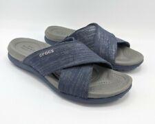 Crocs Women's Dual Comfort Sandals Size 6 Capri Shimmer Slip On X Band Navy