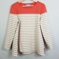 [ BLUE ILLUSION ] Womens Striped Ponte Top | Size L or AU 14 / US 10