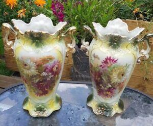 Pair Of Vintage 1950's? Floral Design green gold Ceramic Vases