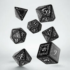 Q-Workshop BNIB Elvish Black & White Dice Set (7) SELV05