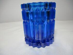 "COBALT BLUE RIBBED GLASS VOTIVE CANDLE HOLDER 2 7/8"" TALL"