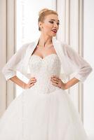 NEW Women White/Ivory Chiffon Wedding Shawl Bridal Wrap Satin Edge Stole Bolero