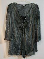 Studio 1940 Women Black White Blouse Faux Layer Bell Sleeve Plus size 2X
