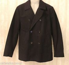 ASOS Military Double Breasted Navy Pea Winter Warm Trench Coat Jacket L