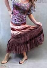 EUC$248 ELIE TAHARI Brown Velour Lace Trim Tie Dye Tiered Long Skirt S/4