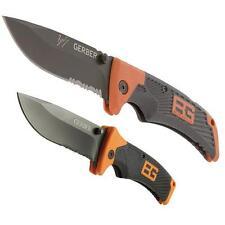 "2 GERBER BEAR GRYLLS SURVIVAL KNIFE SCOUT 4"" LOCKBACK & SHEATH FOLDER 4.9"" SET"