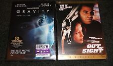 GRAVITY & OUT OF SIGHT-2 movies-GEORGE CLOONEY, JENNIFER LOPEZ, SANDRA BULLOCK