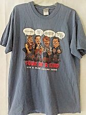 """Club Red """"FOUR OF A KIND""""It's a Blue Collar Thing- Short Sleeve Blue T-Shirt szL"""