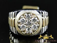 Mens Two Tone Gold Round Cut Cluster Wedding Diamond Designer Band Ring 1.50 Ct