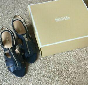 Michael Kors New Navy Blue Leather Peeptoe Sandal UK 5 US 7 Wooden Block Heel