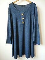New Ex Evans Denim Blue Gold Look Oversize Buttons Jumper Top Plus Size 16-22/24