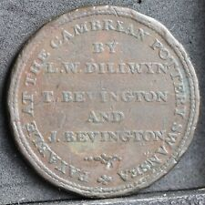 More details for cambrian pottery swansea & south wales copper penny, 1813. davis 20. very rare