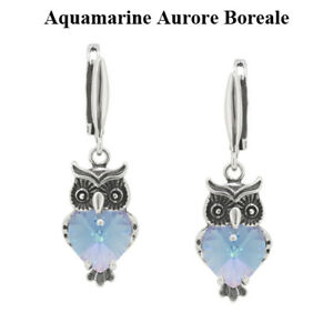 Silver Owl Earrings made with 6228 Heart 10mm Swarovski® Crystals