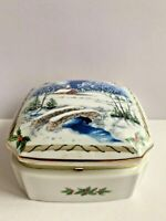 Heritage House Porcelain Music Jewelry Trinket Box Melodies Of Christmas 1987