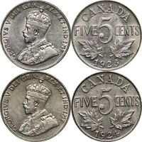1923 & 1924 Canada Five Cents, Lot of 2 Lustrous XF Coins