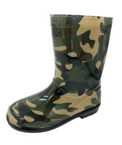 Kids Boys Girls Camo Wellington Rain Boots Wellies