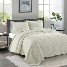 DOUBLE SIZE IVORY ROSALIE EMBROIDERED BEDSPREAD ONLY
