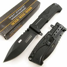 Spring Assist Folding Pocket Knife Tac-Force Black Military Serrated Tactical