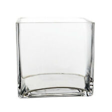 "Clear Glass Cube Square Vase Wedding Centerpiece Home Decor, 5"" x 5"" - 12pcs"