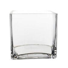 """Clear Glass Cube Square Vase Wedding Centerpiece Home Decor, 5"""" x 5"""" - 12pcs"""