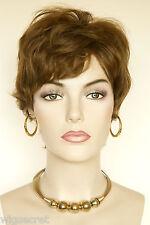 Light Gold Reddish Brown Brunette Short Human Hair  Straight Wigs