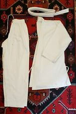 White Cotton-Polyester Karate Practice Uniform Gi Martial Arts Adult Size 4