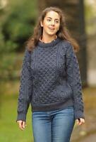 Murphy of Ireland Charcoal 100% Pure Wool Aran Jumper, XS Brand New RRP 69.99!