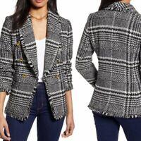 Halogen Shawl Collar Blazer Plaid Tweed Wool Blend size large