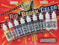 Jacquard Transparent Airbrush 9 Colour Paint Set- Vinyl, Leather, Canvas, Fabric