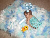 "Polymer Clay OOAK Miniature Baby Girl 2 1/4"" HAND CROCHET PILLOW, BLANKET NEW"