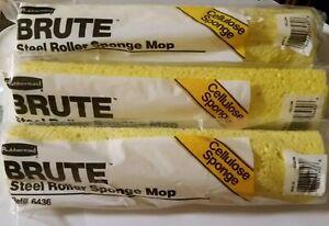 3 Rubbermaid BRUTE 6436 12 Inch Steel Roller Sponge Mop Refills New Sealed