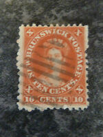 NEW BRUNSWICK POSTAGE STAMP SG17 RED TEN CENTS FINE USED