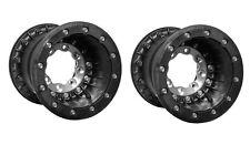"Hiper Black Tech 3 Beadlock Rear Wheels Rims 9"" 9x8 3+5 4/110 450R LTR450 KFX45"