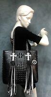 Raviani Black Embossed Croco Leather Tote W/ Fringe & Crystal Cross USA 🇺🇸