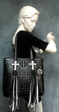 Raviani Black Embossed Crocodile Leather W/ Fringe & Crystal Cross USA 🇺🇸