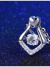 925 Sterling Silver Dancing Zircon Stone Pendant Necklace
