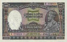 British India 'CALCUTTA' 1000 Rupees King George V 1928 Reproduction